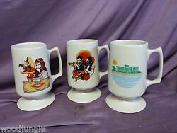 3 Vintage Ge Lamp Division Coffee Mugs New Orleans Hollywood General Electric