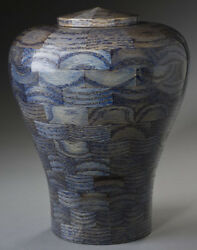 Steve Shannon Wood Adult Urn #22 Lily Blue Urn For Human Ashes