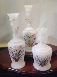 Rare Antique Vanity Set Hand Blown Fenton Glass Scent Bottle And Cup Stopper Lid
