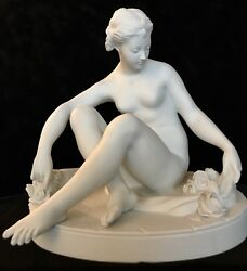 Antique French Sevres Style Villenauxe Bisque Figurine Of Flora, Very Rare