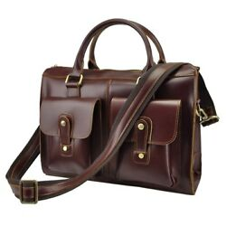 Retro Crazy Horse Genuine Leather Bag Business Shoulder Bag Briefcase Men Bags