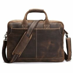 Retro Crazy Horse Genuine Leather Men Bags Business Shoulder Bag Briefcase Bags