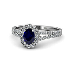 Oval Cut Blue Sapphire And Diamond Halo Engagement Ring 1.65ctw 14k Gold Jp129545