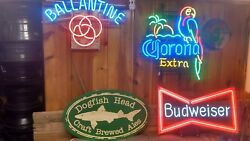 Rare Xl Dogfish Head Brewery Beer Wood Wooden Craft Carved Commercial Bar Sign