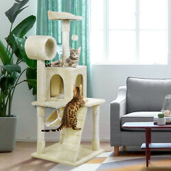 51quot; Cat Tree Tower Condo Furniture Scratching Post Pet Kitty Play House Hammock