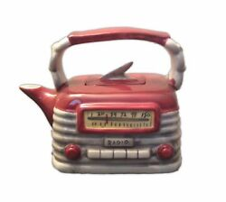Red Vintage Radio Hand-painted Ceramic Teapot, By Blue Sky Ceramics, 6 Tall