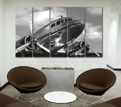 5 Piece Airplane Canvas Wall Art Aircraft Military Pictures Dc-3 Dakota