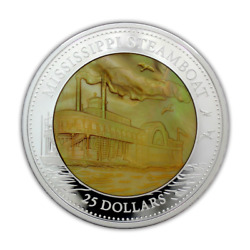 Cook Islands 2015 25 Mississippi Steamboat Mother Of Pearl 5 Oz Silver Coin