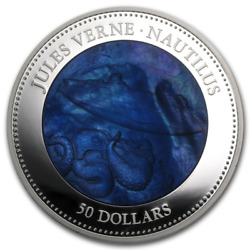Cook Islands 2014 50 Nautilus Jules Verne Captain Nemo Mother Of Pearl Silver