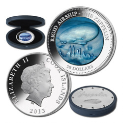 Cook Islands 2013 50 Zeppelin Mother Of Pearl Airship Hindenburg Silver Coin