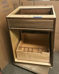 Walnut Base/ Floor Cabinet W/ 2 Drawers And Custom Doors Extra, Pull Out Drawer