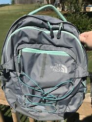 North Face Backpack Borealis Grey Seafoam Green Accent Laptop Hiking