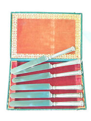 Ca.1869 Sterling Silver Tableware Set 6 Butter Knives W/ Orig. Box Germany