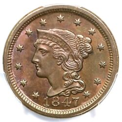 1847 N-4 R-3 Pcgs Ms 65 Bn Braided Hair Large Cent Coin 1c