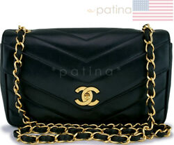 Chanel Vintage Lambskin Chevron Quilted Crossbody Flap Bag 62824