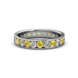 Yellow Sapphire And Diamond Eternity Ring Stackable 1.95 Ctw 14k Gold Jp137539