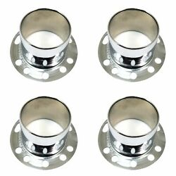 4x Stainless Polished Wheel Center Caps Derby Open-ended 6 5/8 Od 3 1/2 Height