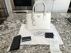 Prada Saffiano Lux Small Double Zip Satchel Tote White w Receipt 62018 - Mint!