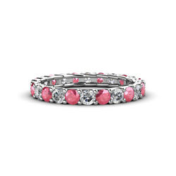 Pink Tourmaline And Diamond Eternity Ring Stackable 1.79 Ctw 14k Gold Jp127592