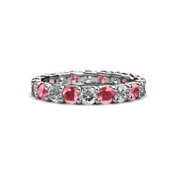 Pink Tourmaline And Diamond Eternity Ring Stackable 2.76 Ctw 14k Gold Jp127665