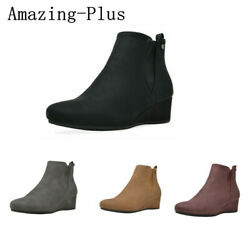 DREAM PAIRS Womens Suede Low Wedge Heel Ankle Boots Zip Up Booties Shoes Size $18.99