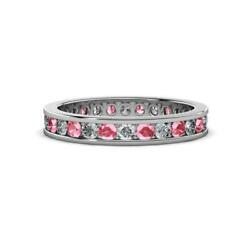 Pink Tourmaline And Diamond Eternity Ring Stackable 1.07 Ctw 14k Gold Jp14570