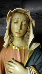 Large Vintage Hand Carved Wooden Our Lady Virgin Mary Of Sorrows And Jesus Statue