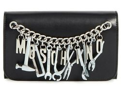 WOMEN'S MOSCHINO BLACK CLUTCH WALLET TOOLS BELT SILVER SHOULDER CHAIN  LEATHER