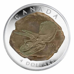 Canada 2008 4 Dinosaur Collection Triceratops Pure Silver Coin 2