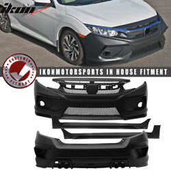 Fits 16-20 Honda Civic Concept Style Front + Rear Bumper Cover + Side Skirts