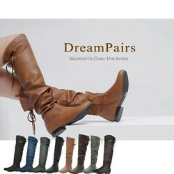 DREAM PAIRS Women#x27;s New Casual Over The Knee Pull On Slouchy Boots Wide Calf $23.39