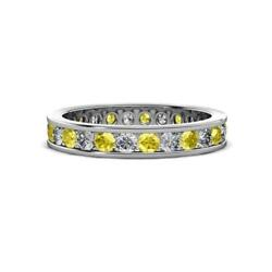 Yellow Sapphire And Diamond Eternity Ring Stackable 1.65 Ctw 14k Gold Jp130598