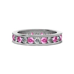Pink Sapphire And Diamond Eternity Ring Stackable 2.04 Ctw 14k Gold Jp130655