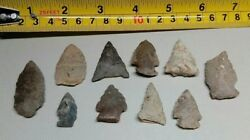 Lot 10 Indian Arrowheads Spear Points Guaranteed Authentic Dated Labeled A11