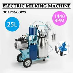 6.6gal Stainless Steel Electric Milking Milker Machine For Goats Cows+ 2 Plugs