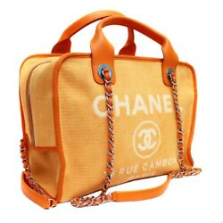 CHANEL A 92750 Deauville Bowling Bag 2 WAY Shoulder Bag canvasleather Women
