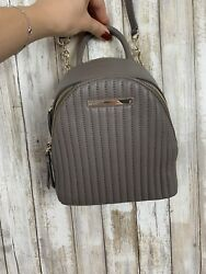 $248 Donna Karan DKNY Gray Taupe Leather Mini Crossbody Backpack Bag Purse