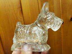 Antique Vintage Scottish Terrier Glass Candy Container