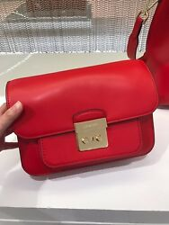 Michael Kors Sloan Editor Leather Shoulder BagBright Red NWD 30T7GS9L3L-204