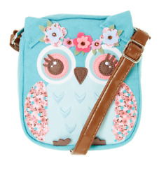 Claire's Girls sling bag Kids Hazel the Owl Crossbody Purse. Cute Gifts for 3+