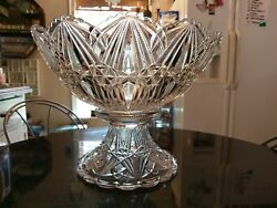Beyond Rare Huge 24-30 Cup Punch Bowl On Base With 16 Cups