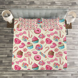 Candy Cane Quilted Bedspread And Pillow Shams Set Yummy Food On Dots Print