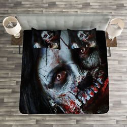 Zombie Quilted Bedspread And Pillow Shams Set, Bloody Axe Woman Print
