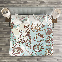 Nautical Quilted Bedspread And Pillow Shams Set, Scallop Starfish Whelk Print