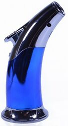 Blue Chrome Wind-resistant Jet Flame Torch Lighter For Cigar And Paracord