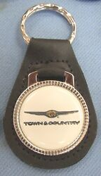 Vintage White Town And Country Chrysler Black Leather 3378 Key Ring Key Fob