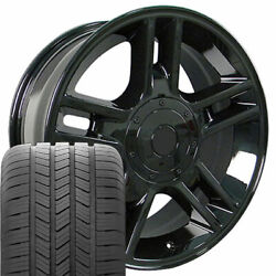 20 Rims Tires Fit Ford F150 Harley Gloss Black Wheels Gy 3410
