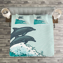Dolphin Quilted Bedspread And Pillow Shams Set, Sea Waves Sketch Art Print