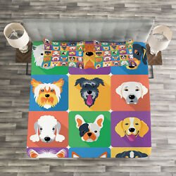 Dog Quilted Bedspread & Pillow Shams Set Terrier Labrador Breed Pets Print