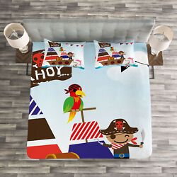 Fun Quilted Bedspread And Pillow Shams Set Pirate Ship Ocean Print